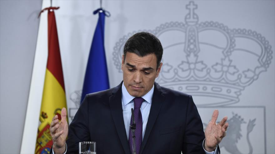 El presidente del Gobierno español, Pedro Sánchez, habla en una rueda de prensa en Madrid (capital), 28 de diciembre de 2018. (Foto: AFP)
