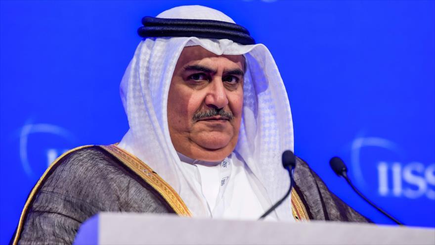 El canciller de Baréin, el sheij Jalid Bin Ahmad Al Jalifa, en una conferencia en Manama (capital), 27 de octubre de 2018. (Foto: AFP)