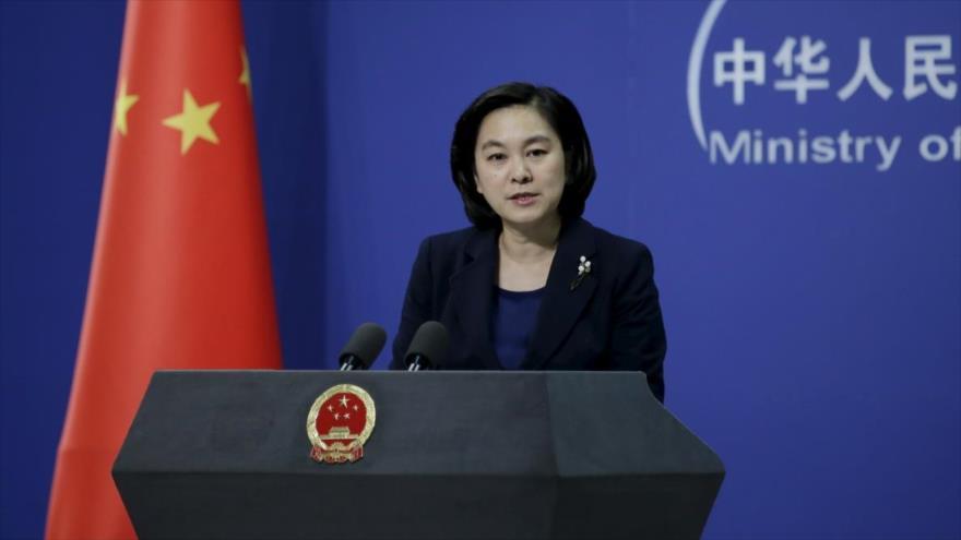 La portavoz del Ministerio de Relaciones Exteriores de China, Hua Chunying, en una sesión informativa ofrecida en la sede de la Cancillería en Pekín.