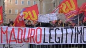 Manifestación en Italia a favor de Nicolás Maduro