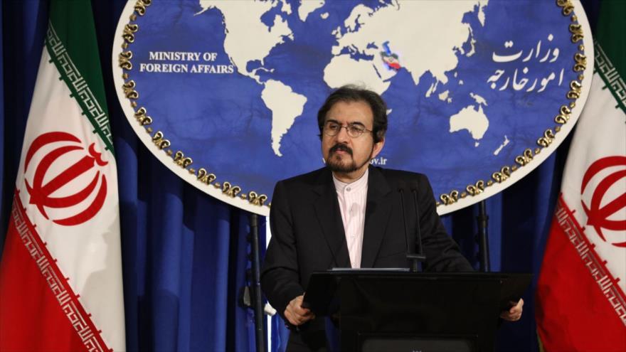 El portavoz de la Cancillería iraní, Bahram Qasemi, en una conferencia de prensa en Teherán, la capital.
