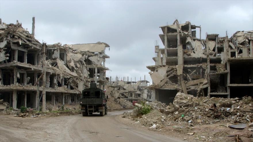Edificios destruidos en la ciudad de Arbin, Siria, 18 de diciembre de 2018. (Foto: AFP)