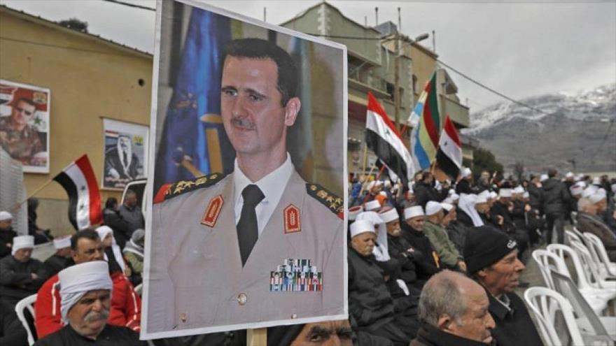 Sirios del Golán ocupado protestan a favor de Al-Asad y contra Israel