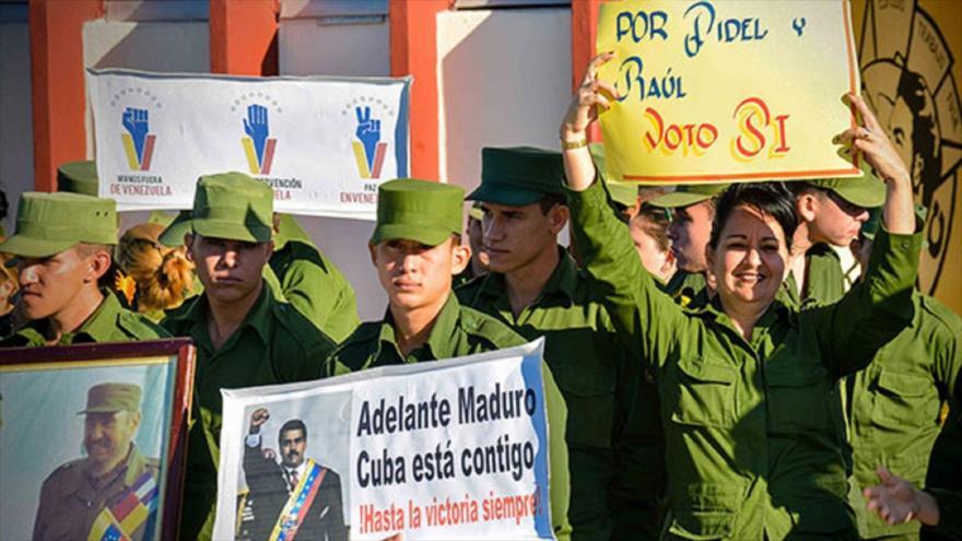 Miembros de las Fuerzas Armadas de Cuba expresan su apoyo al Gobierno de Venezuela, Matanzas, este de La Habana, 16 de febrero de 2019. Foto: (ACN)
