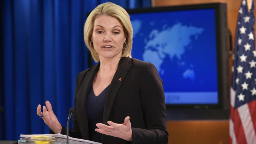 La portavoz del Departamento de Estado de EE.UU., Heather Nauer, durante una rueda de prensa en Washington, 30 de noviembre de 2017. (Foto: AFP)