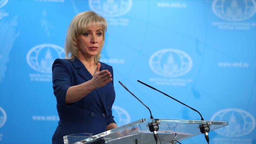 Portavoz del Ministerio de Exteriores de Rusia, María Zajarova, en rueda de prensa en la Cancillería rusa en Moscú.