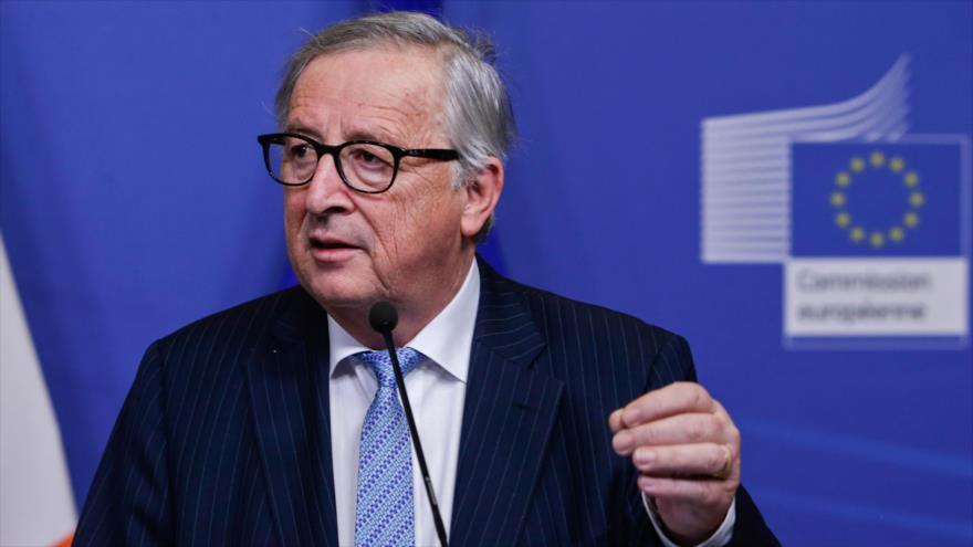 El presidente de la Comisión Europea (CE), Jean-Claude Juncker, ofrece una rueda de prensa en Bruselas, 6 de febrero de 2019. (Foto: AFP)