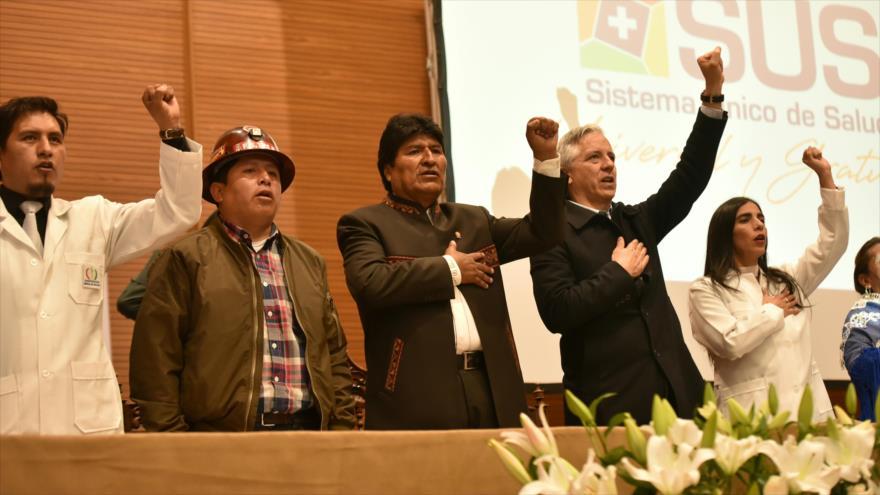 El presidente de Bolivia, Evo Morales, asiste a un acto político en su país, 19 de febrero de 2019. (Foto: ABI)