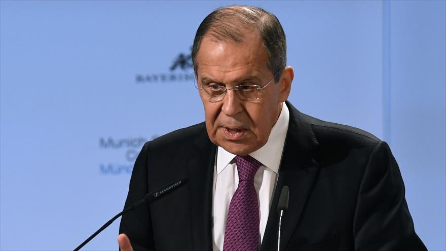 El ministro de Relaciones Exteriores de Rusia, Serguéi Lavrov, en la Conferencia de Seguridad de Múnich, Alemania, 16 de febrero de 2019. (Foto:AFP)