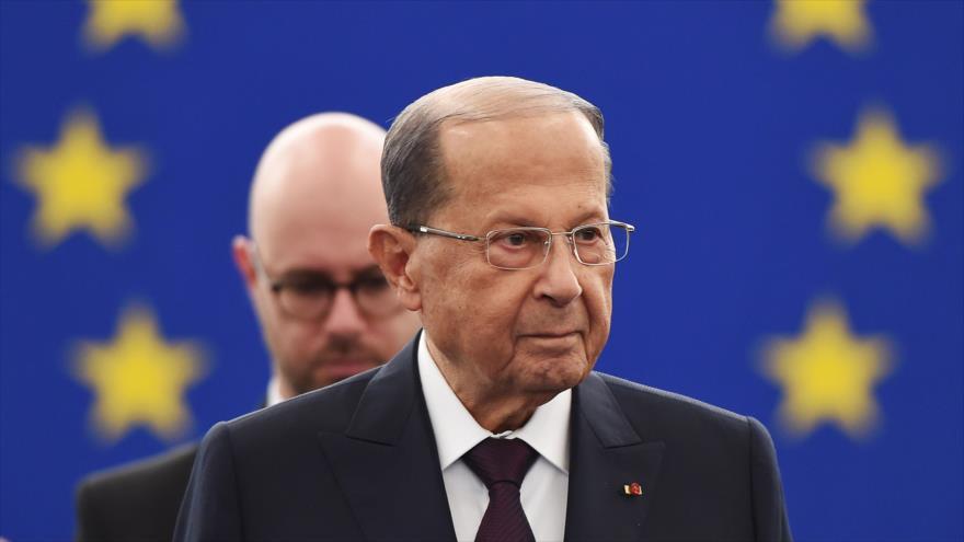 El presidente libanés, Michel Aoun, llega a Estrasburgo, Francia, para participar en una sesión del Parlamento Europeo, 11 de septiembre de 2018.