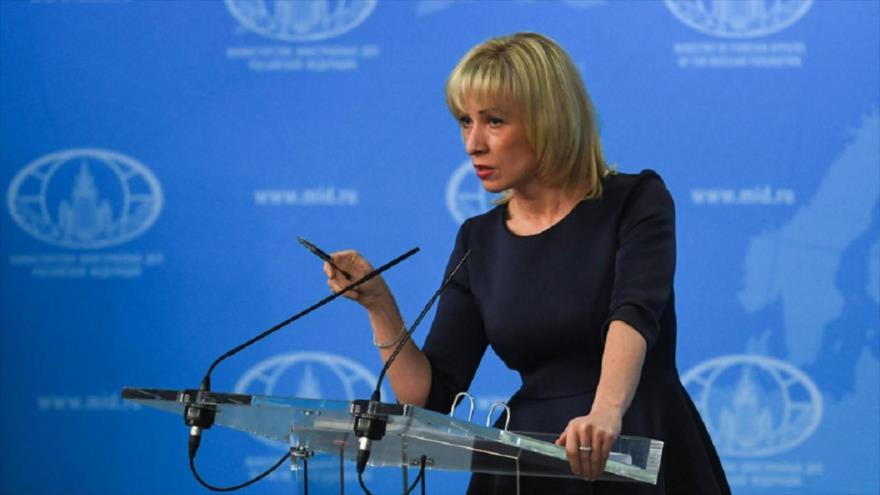 La portavoz de la Cancillería rusa, María Zajárova, ofrece una rueda de prensa, Moscú