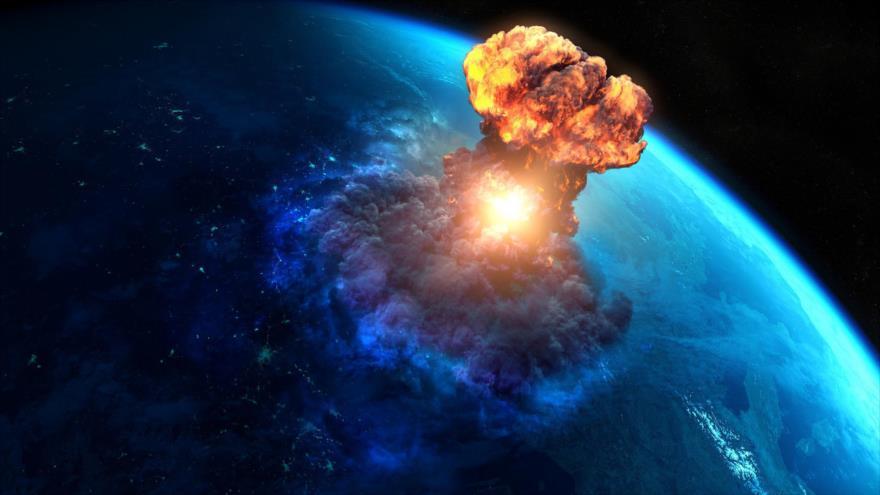 Representación de impacto de un meteorito contra la Tierra.
