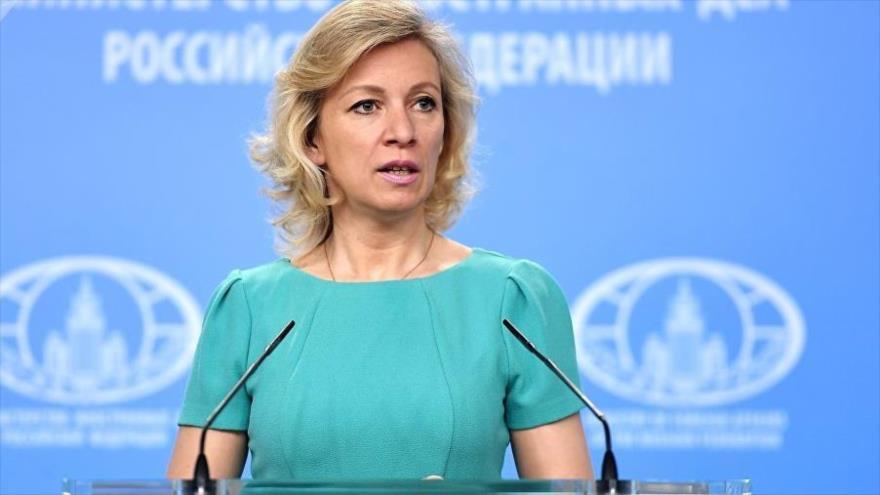 La portavoz del Ministerio de Exteriores ruso, María Zajárova, durante una rueda de prensa.
