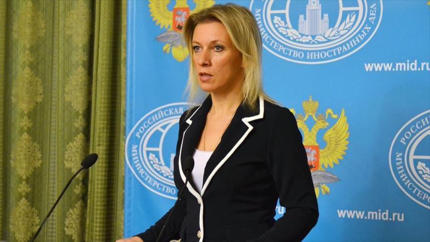 La portavoz del Ministerio de Exteriores de Rusia, María Zajarova, en rueda de prensa.