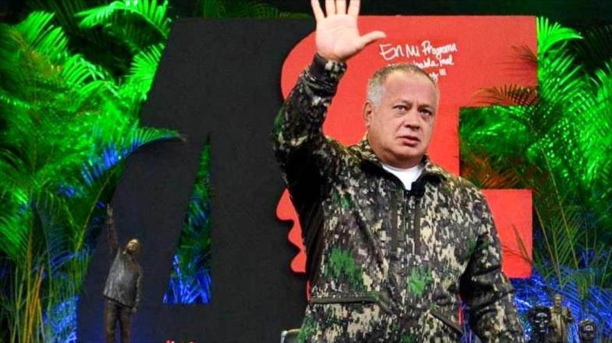 Diosdado Cabello, presidente de la Asamblea Nacional Constituyente de Venezuela, durante su programa semanal Con el Mazo Dando, 27 de febrero de 2019.