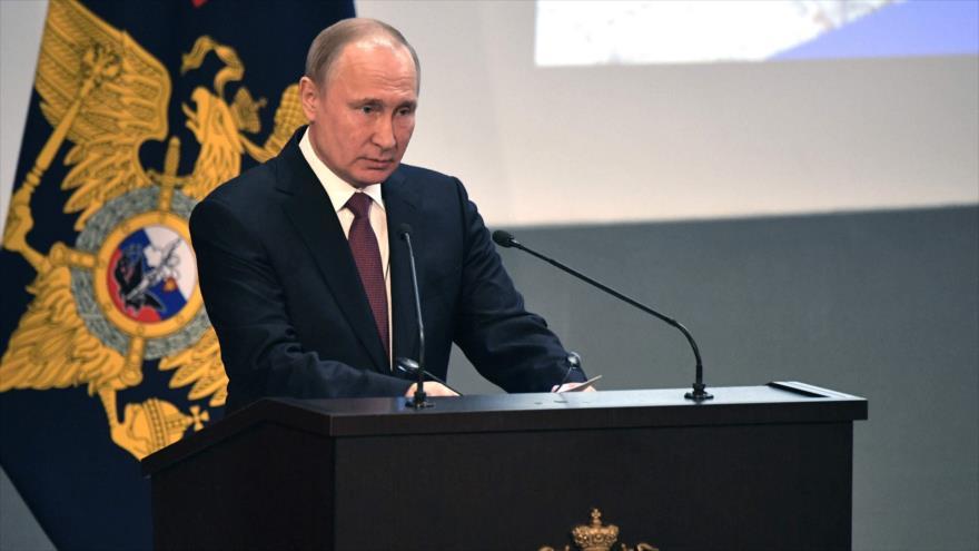 El presidente de Rusia, Vladimir Putin, ofrece un discurso en Moscú, 28 de febrero de 2019. (Foto: AFP)