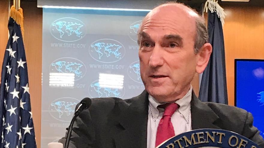 El enviado especial de EE.UU. para Venezuela, Elliott Abrams, habla a la prensa en Washington, 1 de marzo de 2019. (Foto: AFP)