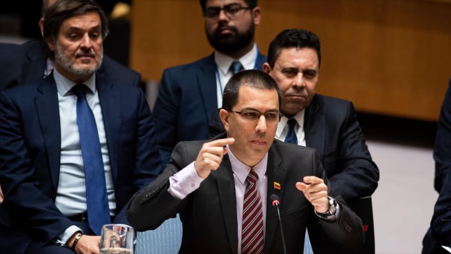 El canciller de Venezuela, Jorge Arreaza, en la reunión del Consejo de Seguridad de la ONU en Nueva York, 26 de febrero de 2019. (Foto: AFP)