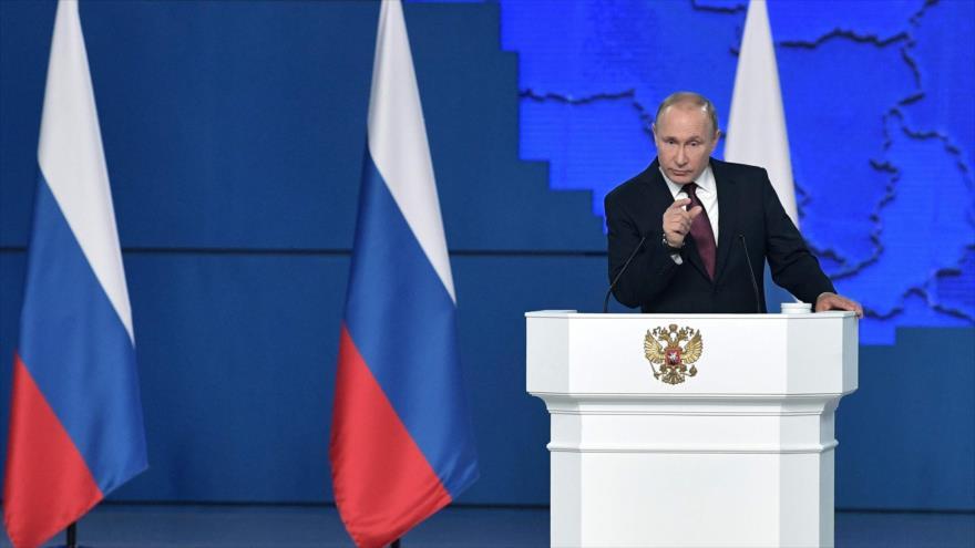 El presidente de Rusia, Vladimir Putin, ofrece un discurso en Moscú, 20 de febrero de 2019. (Foto: AFP)