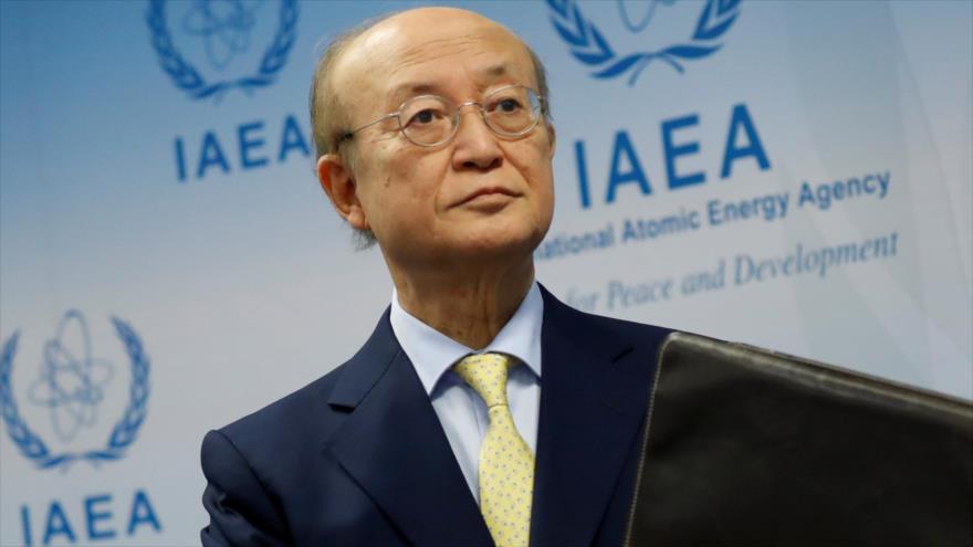 El director general de la AIEA, Yukiya Amano, ofrece una conferencia de prensa en Viena, 4 de marzo de 2019. (Foto: Reuters)