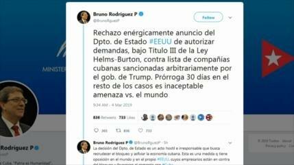 Cuba rechaza decisión de EEUU de demandar a empresas de la isla