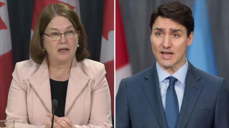 La ministra de presupuesto de Canadá, Jane Philpott (izda.), y el premier Justin Trudeau.