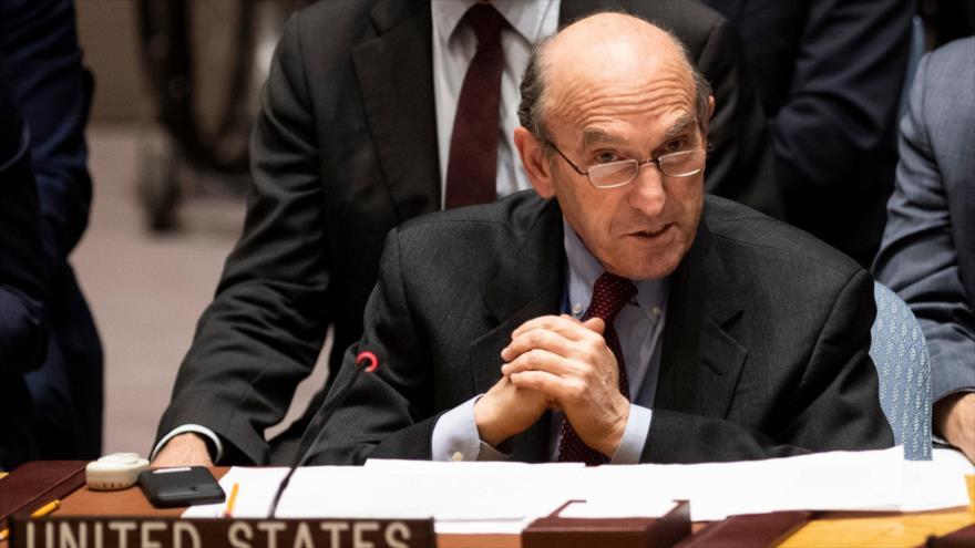 El encargado del proyecto de EE.UU. para derrocar al Gobierno de Venezuela, Elliott Abrams, habla en el Consejo de Seguridad, 1 de marzo de 2019. (Foto: AFP)
