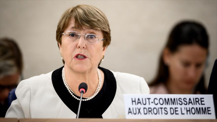 La alta comisionada de la ONU para los Derechos Humanos, Michelle Bachelet, presenta informe anual en Ginebra, Suiza, 6 de marzo de 2019. (Foto: AFP)
