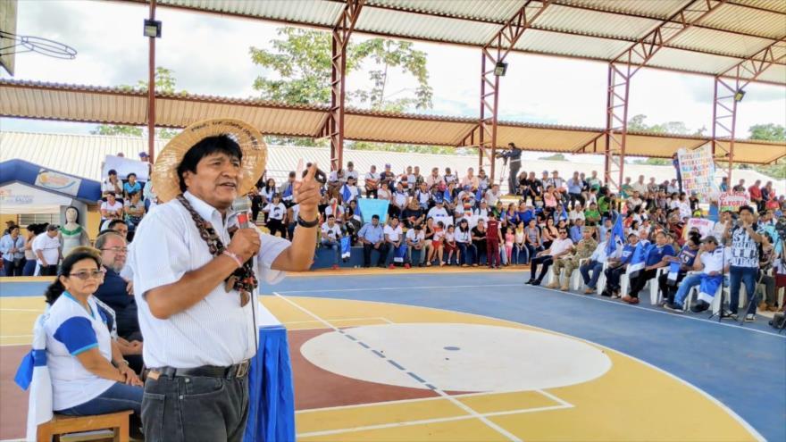 El presidente de Bolivia, Evo Morales, habla durante un acto en el municipio de Bella Flor, en Pando, 6 de marzo de 2019.