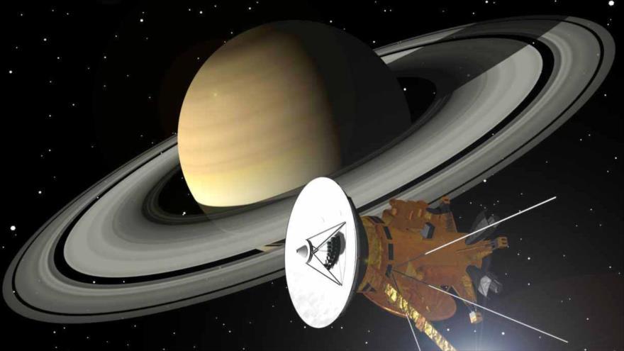 Representación gráfica de la sonda Cassini cerca de Saturno.