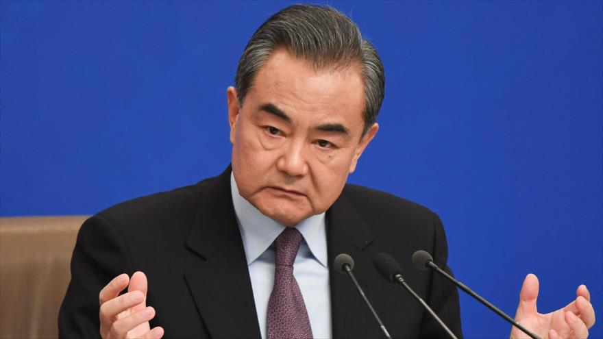 El ministro de Relaciones Exteriores de China, Wang Yi, en rueda de prensa en la Asamblea Popular Nacional china, Pekín, 8 de marzo de 2019. (Foto: AFP)