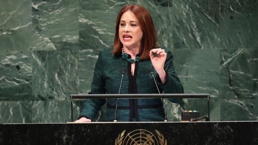 La presidenta de la Asamblea General de las Naciones Unidas, María Fernanda Espinosa, Nueva York, 25 de septiembre de 2018. (Foto: AFP)
