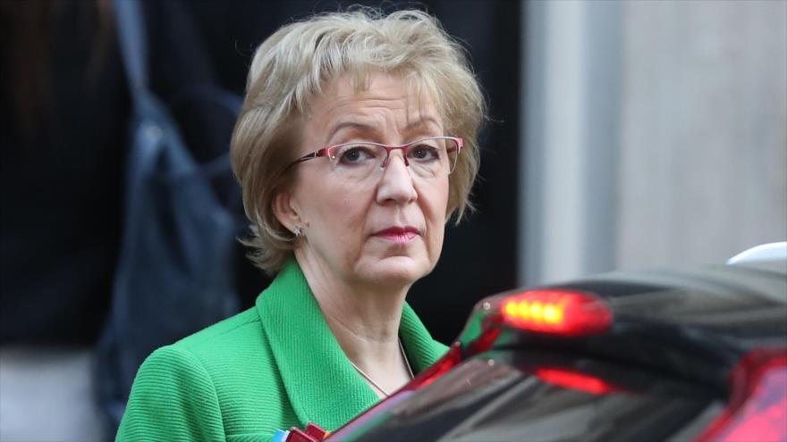 La líder conservadora en la Cámara de los Comunes del Reino Unido, Andrea Leadsom, antes de una reunión del Gabinete, 26 de febrero de 2019. (Foto: AFP)