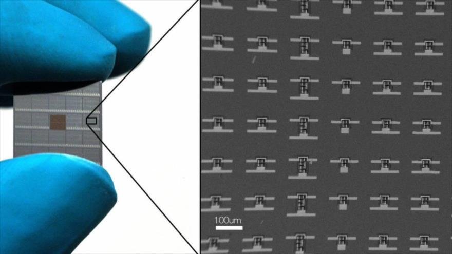 Una oblea de silicio usada para construir miles de nanomáquinas.