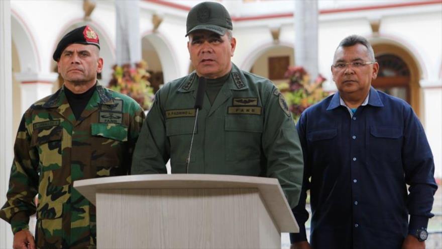 El ministro venezolano de Defensa, Vladimir Padrino López, ofrece un discurso en el Palacio de Miraflores, Caracas, 8 de marzo de 2019. (Foto: AFP)