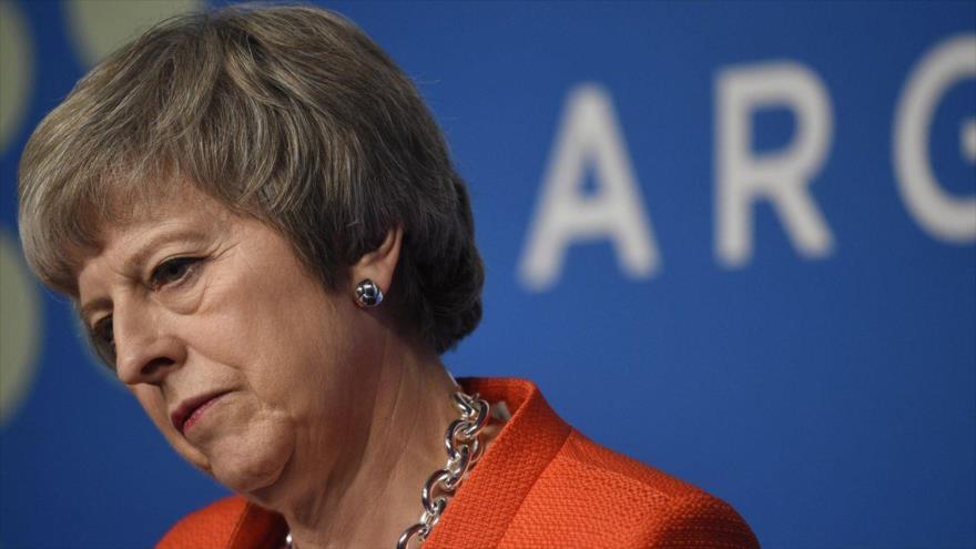 La primera ministra británica, Theresa May, durante un discurso.
