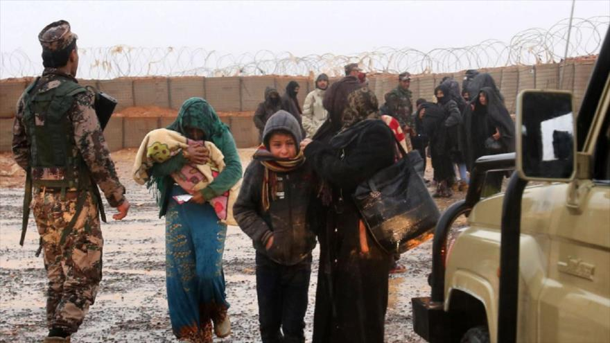 Refugiados sirios en el campamento de Rukban, ubicado en la frontera sirio-jordana.