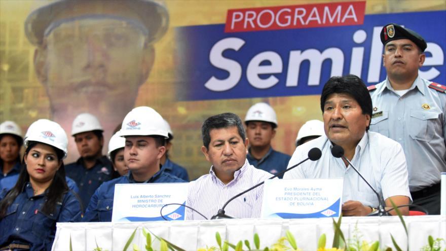 El presidente de Bolivia, Evo Morales, ofrece un discurso en Santa Cruz, 11 de marzo de 2019. (Foto: ABI)