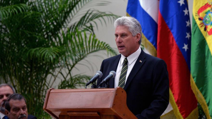 El presidente cubano, Miguel Díaz-Canel, habla en una cumbre de la ALBA en La Habana, capital, 14 de diciembre de 2018. (Foto: AFP)