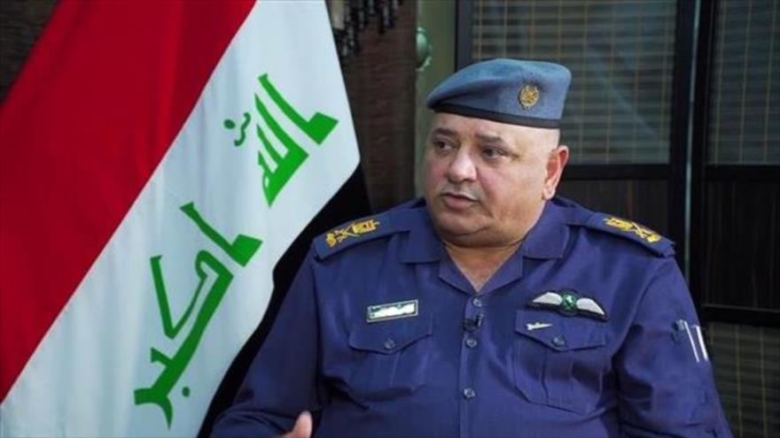 El portavoz del Ministerio de Defensa iraquí, el general de división Tahsin al-Jafayi, en una entrevista con la cadena Press TV.
