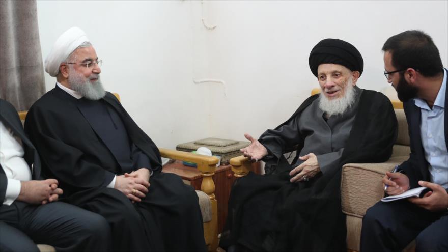 El presidente de Irán, Hasan Rohani, se reúne con el clérigo chií de Irak, Seyed Muhamad Said al-Hakim, en Nayaf, 13 de marzo de 2019.