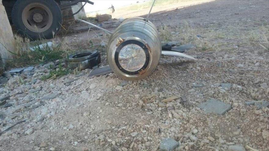 Un obús 2K25 Krasnopol, de producción rusa, en la provincia siria de Hama.