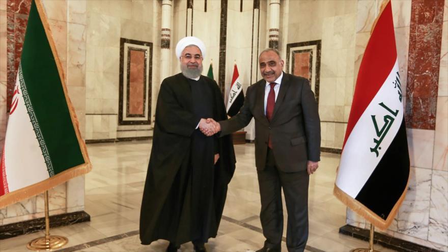 El presidente iraní, Hasan Rohani, junto al primer ministro iraquí, Adel Abdul-Mahdi, en Bagdad, 11 de marzo de 2019. (Foro: AFP)