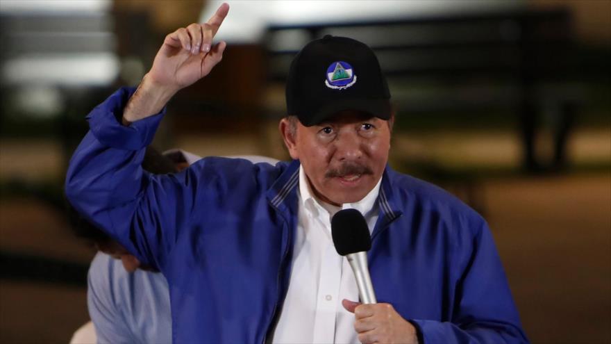 El presidente de Nicaragua, Daniel Ortega, habla durante una ceremonia en Managua (la capital), 29 de noviembre de 2018. (Foto: AFP)