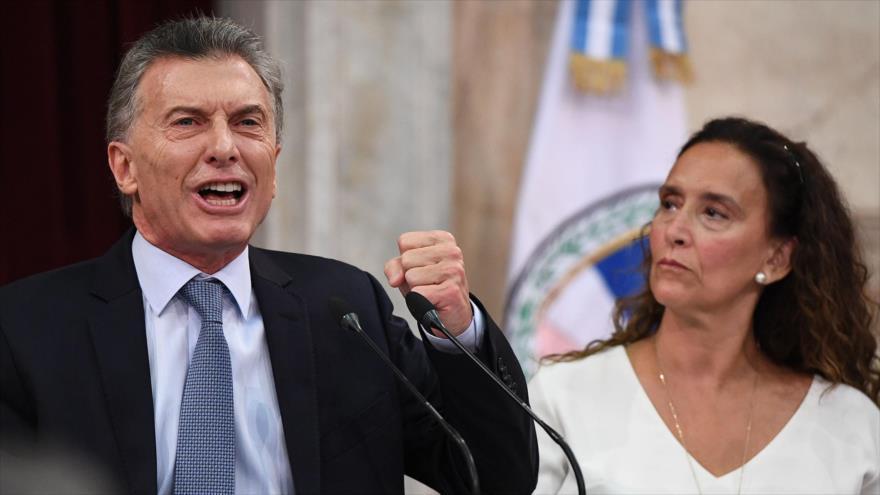 El presidente de Argentina, Mauricio Macri, habla en el Congreso del país, 1 de marzo de 2019. (Foto: AFP)