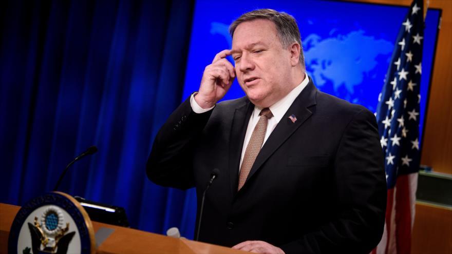 El secretario de Estado de EE.UU., Mike Pompeo, habla con la prensa en Washington, la capital, 15 de marzo de 2019. (Foto: AFP)