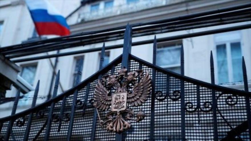 La entrada de la Cancillería de Rusia en Moscú