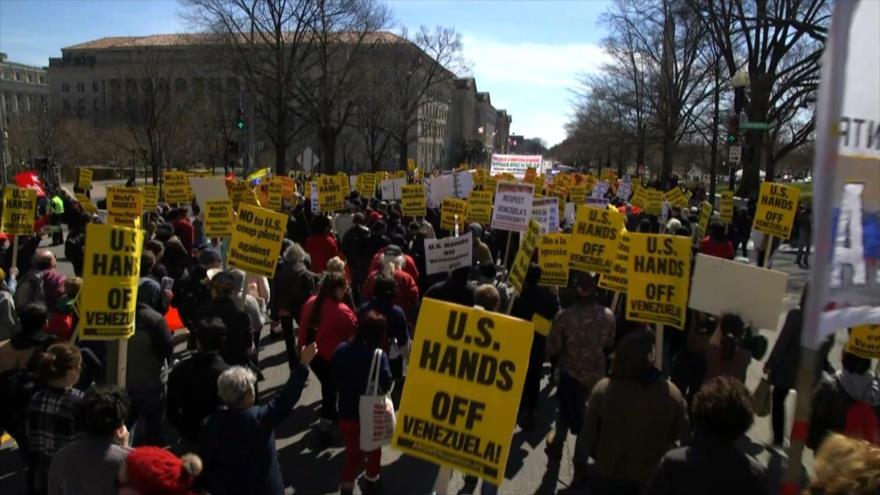 Marchan contra intento de cambio de Gobierno venezolano en EEUU | HISPANTV