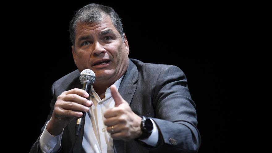 El expresidente ecuatoriano Rafael Correa, en una rueda de prensa en Bruselas, 22 de octubre de 2018. (Foto: Reuters)