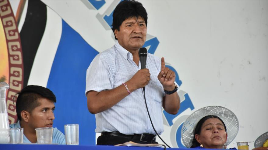 El presidente de Bolivia, Evo Morales, habla en un acto oficial en la ciudad de Cochabamba, en el centro del país, 16 de marzo de 2019. (Foto: ABI)